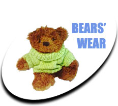 Fluffy teddy bear wearing a light green woolly jumper - Link to our range of teddy bears' clothes