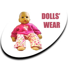 Baby doll sitting up wearing flowery trousers and a pink jumper - Link to the Dolls wear