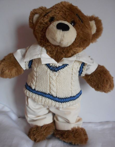 Teddy bear in cricket outfit